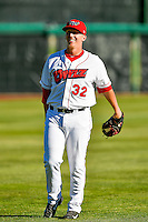 Doug Willey (32) of the Orem Owlz warms up in the outfield before the game against the Ogden Raptors in Pioneer League action at Home of the Owlz on June 25, 2016 in Orem, Utah. Orem defeated Ogden 4-1.  (Stephen Smith/Four Seam Images)