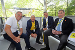 Former Champions Bernard Hinault, Raymond Poulidor, Bernard Thévenet and the greatest of them all Eddy Merckx in the Tour Village before Stage 1 of the 2019 Tour de France running 194.5km from Brussels to Brussels, Belgium. 6th July 2019.<br /> Picture: ASO/Olivier Chabe | Cyclefile<br /> All photos usage must carry mandatory copyright credit (© Cyclefile | ASO/Olivier Chabe)