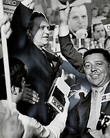 1969 FILE PHOTO - ARCHIVES -<br /> <br /> Cheering supporters all but mob Premier Jean-Jacques Bertrand who won confirmation as leader of the Union Nationale in Quebec city Saturday. He beat out closest rival Education Minister Jean-Guy Cardinal by 1,327 votes to 938. He drew some persistent booing from Cardinal supporters.<br /> <br /> 1969<br /> <br /> PHOTO : Boris Spremo - Toronto Star Archives - AQP