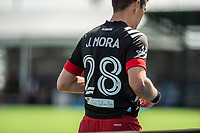 LAKE BUENA VISTA, FL - JULY 13: Joseph Mora #28 of DC United walking off the pitch during a game between D.C. United and Toronto FC at Wide World of Sports on July 13, 2020 in Lake Buena Vista, Florida.