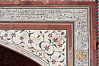 Agra, India.  Taj Mahal.  Gateway Entrance opening to the Taj and its Gardens.  Calligraphy and Floral Design.
