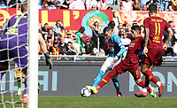 Football, Serie A: AS Roma - SSC Napoli, Olympic stadium, Rome, March 31, 2019. <br /> Napoli's José Callejon (l) in action with Roma's Diego Perotti (r) during the Italian Serie A football match between Roma and Napoli at Olympic stadium in Rome, on March 31, 2019.<br /> UPDATE IMAGES PRESS/Isabella Bonotto