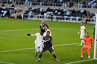ST PAUL, MN - OCTOBER 28: Lalas Abubakar #6 of Colorado Rapids  keeps the ball away from Michael Boxall #15 of Minnesota United FC during a game between Colorado Rapids and Minnesota United FC at Allianz Field on October 28, 2020 in St Paul, Minnesota.