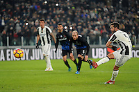 Calcio, Ottavi di finale di Tim Cup: Juventus vs Atalanta. Torino, Juventus Stadium, 11 gennaio 2017.<br /> Juventus' Miralem Pjanic kicks to score on a penalty kick during the Italian Cup football round of 16 match between Juventus and Atalanta at Turin's Juventus Stadium, 8 January 2017. Juventus won 3-2 to join the quarter finals.<br /> UPDATE IMAGES PRESS/Manuela Viganti
