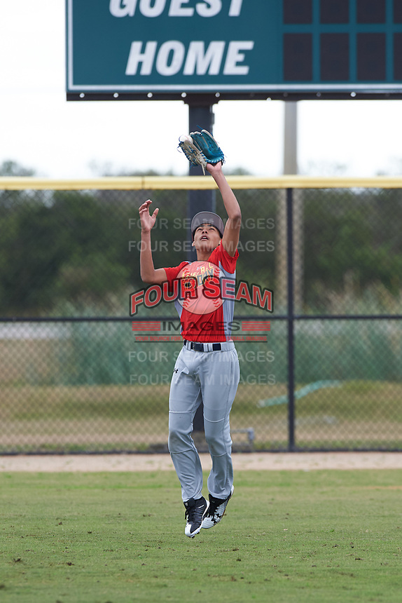 Davin Lewis (12) from Wailuku, Hawaii during the Baseball Factory All-America Pre-Season Rookie Tournament, powered by Under Armour, on January 13, 2018 at Lake Myrtle Sports Complex in Auburndale, Florida.  (Michael Johnson/Four Seam Images)