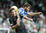 St Johnstone v Celtic…20.08.16..  McDiarmid Park  SPFL<br />Richie Foster gets above Kieran Tierney<br />Picture by Graeme Hart.<br />Copyright Perthshire Picture Agency<br />Tel: 01738 623350  Mobile: 07990 594431