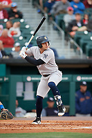 Scranton/Wilkes-Barre RailRiders right fielder Ryan McBroom (9) at bat during a game against the Buffalo Bisons on May 18, 2018 at Coca-Cola Field in Buffalo, New York.  Buffalo defeated Scranton 5-1.  (Mike Janes/Four Seam Images)