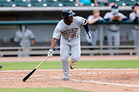 Montgomery Biscuits right fielder Moises Gomez (21) hustles up the first-base line against the Tennessee Smokies on May 9, 2021, at Smokies Stadium in Kodak, Tennessee. (Danny Parker/Four Seam Images)