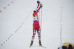 HOLMENKOLLEN, OSLO, NORWAY - March 16: Mikko Kokslien of Norway (NOR) crosses the finish line at the cross country 15 km (2 x 7.5 km) competition at the FIS Nordic Combined World Cup on March 16, 2013 in Oslo, Norway. (Photo by Dirk Markgraf)