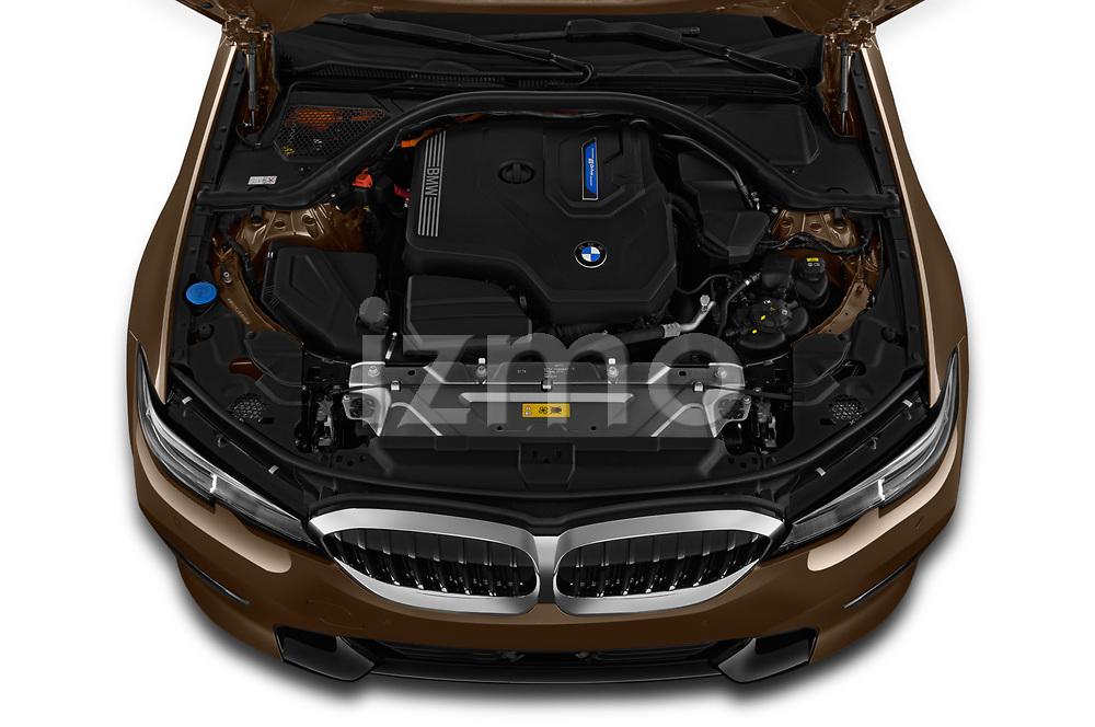 Car stock 2019 BMW 3 Series Sport PHEV 4 Door Sedan engine high angle detail view