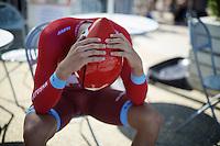 Marco Haller (AUT/Katusha) 'zoning in' before the TT<br /> <br /> stage 13 (ITT): Bourg-Saint-Andeol - Le Caverne de Pont (37.5km)<br /> 103rd Tour de France 2016