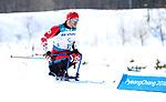 Sebastien Fortier, Pyeongchang 2018. Para Nordic Skiing // Ski paranordique.<br /> Sebastien Fortier competes in the 15k sitting cross country // Sebastien Fortier participe au cross-country assis sur 15 km. 11/03/2018.