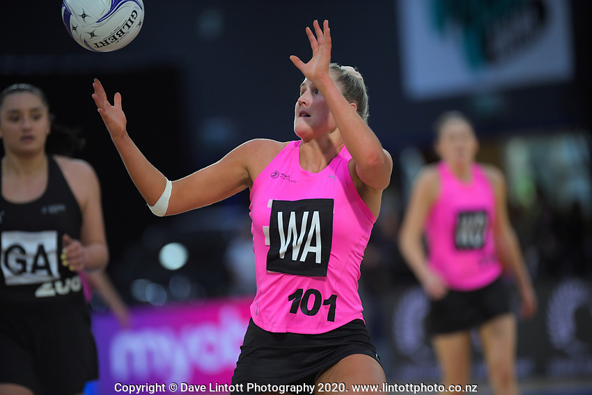 NZ A's Maddie Gordon takes a pass during the Cadbury Netball Series match between NZ A and NZ Under-21 at the Fly Palmy Arena in Palmerston North, New Zealand on Thursday, 22 October 2020. Photo: Dave Lintott / lintottphoto.co.nz