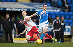 St Johnstone v Kilmarnock…15.10.16.. McDiarmid Park   SPFL<br />Chris Kane is brought down by Scott Boyd<br />Picture by Graeme Hart.<br />Copyright Perthshire Picture Agency<br />Tel: 01738 623350  Mobile: 07990 594431