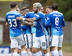St Johnstone v Livingston….04.05.19      McDiarmid Park        SPFL<br />Michael O'Halloran is mobbed by his team mates after scoring<br />Picture by Graeme Hart. <br />Copyright Perthshire Picture Agency<br />Tel: 01738 623350  Mobile: 07990 594431