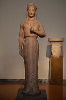 Athens archeological museum Statue of a kore parian marble  made by the sculptor Aristion from Paros 550-540 B.C.
