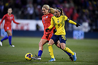 COLUMBUS, OH - NOVEMBER 07: Lindsey Horan #9 of the United States and Kosovare Asllani #9 of Sweden battle for a loose ball during a game between Sweden and USWNT at MAPFRE Stadium on November 07, 2019 in Columbus, Ohio.