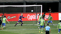 COLUMBUS, OH - DECEMBER 12: Stefan Frei #24 of the Seattle Sounders FC tracks a shot during a game between Seattle Sounders FC and Columbus Crew at MAPFRE Stadium on December 12, 2020 in Columbus, Ohio.