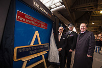 Pictured unveiling the nameplates are Councillor Brian Grocott, Chair of the Fire Authority and Paul Crowther, Chief Constable British Transport Police with Jake Kelly, MD of East Midlands Trains