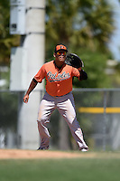 Baltimore Orioles Carlos Diaz (55) during a minor league spring training game against the Minnesota Twins on March 28, 2015 at the Buck O'Neil Complex in Sarasota, Florida.  (Mike Janes/Four Seam Images)