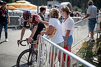Pavel Sivakov (RUS/Ineos) crashed in the race finale and is comforted by his mother at the finish line<br /> <br /> Stage 5: Megève to Megève (154km)<br /> 72st Critérium du Dauphiné 2020 (2.UWT)<br /> <br /> ©kramon