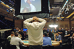 Prahland Frideman reacts after going all in.  He was elminated by Jamie Gold in 20th. place.