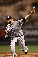 David Price #14 of the Tampa Bay Rays pitches against the Los Angeles Angels at Angel Stadium on August 16, 2012 in Anaheim, California. Tampa Bay defeated Los Angeles 7-0. (Larry Goren/Four Seam Images)