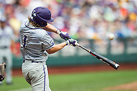 TCU Horned Frogs outfielder Cody Jones (1) swings the bat against the LSU Tigers in the NCAA College World Series on June 14, 2015 at TD Ameritrade Park in Omaha, Nebraska. TCU defeated LSU 10-3. (Andrew Woolley/Four Seam Images)