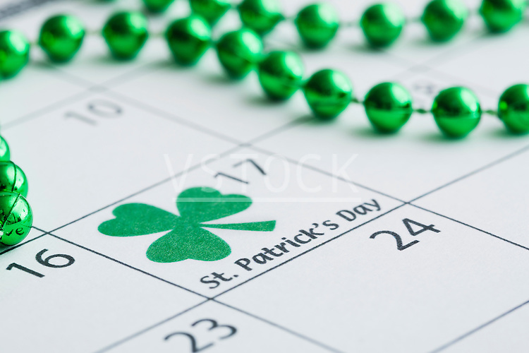 St. Patrick's Day marked with shamrock in calendar