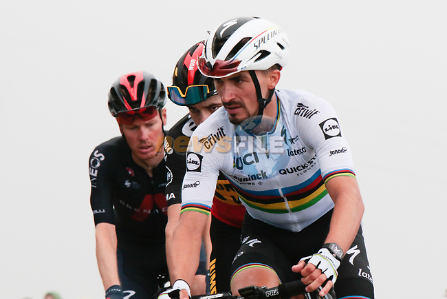 World Champion Julian Alaphilippe (Fra) Deceuninck-Quick Step and Belgian Champion Wout Van Aert (Bel) Jumbo-Visma round the final hairpin on Col du Portet during Stage 17 of the 2021 Tour de France, running 178.4km from Muret to Saint-Lary-Soulan Col du Portet, France. 14th July 2021.  <br /> Picture: Colin Flockton | Cyclefile<br /> <br /> All photos usage must carry mandatory copyright credit (© Cyclefile | Colin Flockton)