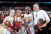 STANFORD, CA--Seniors Grace Mashore, Nnemkadi Ogwumike, Sarah Boothe, and  Lindy LaRocque celebrate senior day during PAC-12 conference play against Utah  at Maples Pavilion. The Cardinal won the matchup against the Utes 69-42.