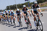 Etixx-Quick Step team drive on at the front of the peloton during Stage 2 of the 2015 Presidential Tour of Turkey running 182km from Alanya to Antalya. 27th April 2015.<br /> Photo: Tour of Turkey/Stiehl Photography/Mario Stiehl/www.newsfile.ie
