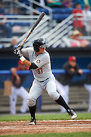 West Virginia Black Bears third baseman Hunter Owen (37) at bat during a game against the Batavia Muckdogs on June 28, 2016 at Dwyer Stadium in Batavia, New York.  Batavia defeated West Virginia 3-1.  (Mike Janes/Four Seam Images)