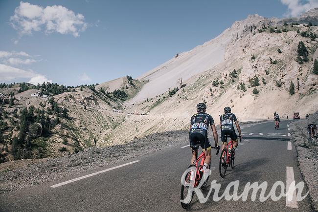 Sylvain Chavanel (FRA/Direct Energie) & Thomas Voeckler (FRA/Direct Energie) up the Col d'Izoard (HC/2360m/14.1km/7.3%)<br /> <br /> 104th Tour de France 2017<br /> Stage 18 - Briancon › Izoard (178km)
