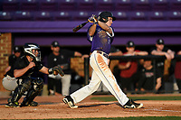 Center fielder Ben Anderson (17) of the Furman Paladins bats in game two of a doubleheader against the Harvard Crimson on Friday, March 16, 2018, at Latham Baseball Stadium on the Furman University campus in Greenville, South Carolina. The catcher is Devan Peterson. Furman won, 7-6. (Tom Priddy/Four Seam Images)