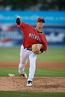 Batavia Muckdogs relief pitcher Eli Villalobos (21) during a NY-Penn League game against the State College Spikes on July 3, 2019 at Dwyer Stadium in Batavia, New York.  State College defeated Batavia 6-4.  (Mike Janes/Four Seam Images)