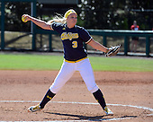 Michigan Wolverines Softball pitcher Megan Betsa (3) delivers a pitch during a game against the Bethune-Cookman on February 9, 2014 at the USF Softball Stadium in Tampa, Florida.  Michigan defeated Bethune-Cookman 12-1.  (Copyright Mike Janes Photography)
