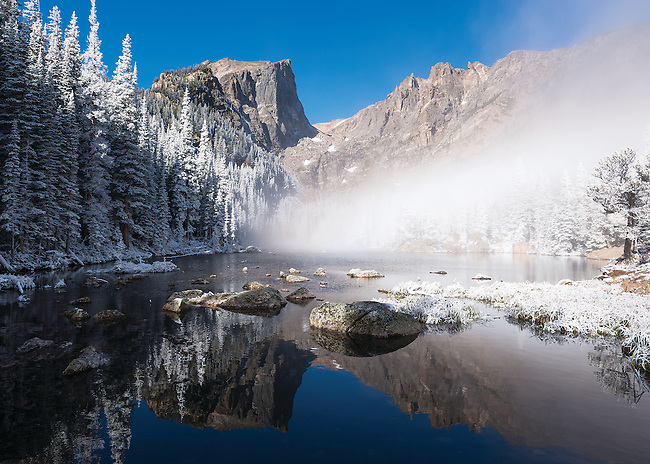 subalpine frosting at Dream Lake in the Rocky Mountain National Park, Colorado USA