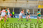 Kerrys Eilish O'Leary been well marshalled by Niamh Marley and Shaune Gray of Armagh in the Div 2 game in  the Lidl Ladies National Football league