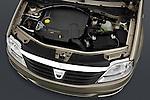 High angle engine detail of a 2009 Dacia Logan Laureate Minivan.