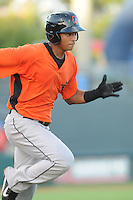 Infielder Garabez Rosa (45) of the Frederick Keys in a game against the Myrtle Beach Pelicans on August 4, 2012, at TicketReturn.Com Field in Myrtle Beach, South Carolina. Myrtle Beach won, 4-3. (Tom Priddy/Four Seam Images)