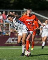 Newton, Massachusetts - October 22, 2017: NCAA Division I. University of Virginia (orange/white) defeated Boston College (white), 2-1, at Newton Campus Soccer Field.Red Card: Zoe Morse