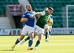 Hibs v St Johnstone…22.09.21  Easter Road.    SPFL<br />Chris Kane battles with Paul McGinn<br />Picture by Graeme Hart.<br />Copyright Perthshire Picture Agency<br />Tel: 01738 623350  Mobile: 07990 594431