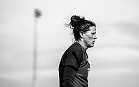 COMMERCE CITY, CO - OCTOBER 25: Alyssa Naeher of the USWNT looks to the ball at Dick's Sporting Goods training fields on October 25, 2020 in Commerce City, Colorado.