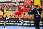 Ludwigshafens Bührer / Buehrer, Pascal (Nr.24) gegen Coburgs Kulhanek, Jan  beim Spiel in der Handball Bundesliga, Die Eulen Ludwigshafen - HSC 2000 Coburg.<br /> <br /> Foto © PIX-Sportfotos *** Foto ist honorarpflichtig! *** Auf Anfrage in hoeherer Qualitaet/Aufloesung. Belegexemplar erbeten. Veroeffentlichung ausschliesslich fuer journalistisch-publizistische Zwecke. For editorial use only.