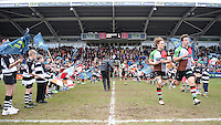20130309 Copyright onEdition 2013©.Free for editorial use image, please credit: onEdition..Luke Wallace (left) and Sam Smith of Harlequins lead the team out before the LV= Cup semi final match between Harlequins and Bath Rugby at The Twickenham Stoop on Saturday 9th March 2013 (Photo by Rob Munro)..For press contacts contact: Sam Feasey at brandRapport on M: +44 (0)7717 757114 E: SFeasey@brand-rapport.com..If you require a higher resolution image or you have any other onEdition photographic enquiries, please contact onEdition on 0845 900 2 900 or email info@onEdition.com.This image is copyright onEdition 2013©..This image has been supplied by onEdition and must be credited onEdition. The author is asserting his full Moral rights in relation to the publication of this image. Rights for onward transmission of any image or file is not granted or implied. Changing or deleting Copyright information is illegal as specified in the Copyright, Design and Patents Act 1988. If you are in any way unsure of your right to publish this image please contact onEdition on 0845 900 2 900 or email info@onEdition.com