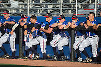The Danville Braves bench watches the action from the dugout during the game against the Kingsport Mets at American Legion Post 325 Field on July 9, 2016 in Danville, Virginia.  The Mets defeated the Braves 10-8.  (Brian Westerholt/Four Seam Images)