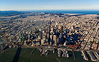 aerial overview of San Francisco from the Ferry Building down Market Street during Superbowl 50