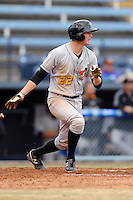 West Virginia Power second baseman Erich Weiss #22 swings at a pitch during game one of a double header against the Asheville Tourists at McCormick Field on April 8, 2014 in Asheville, North Carolina. The Power defeated the Tourists 6-5. (Tony Farlow/Four Seam Images)