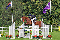 5th September 2021; Bicton Park, East Budleigh Salterton, Budleigh Salterton, United Kingdom: Bicton CCI 5* Equestrian Event; Gemma Tattersall riding Chilli Knight clears fence three on her way to winning Bicton 5*